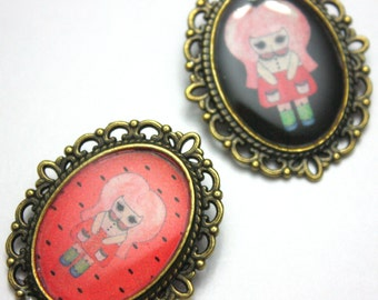 Aqua Roja - Watermelon Girl Pin - Black or Pink