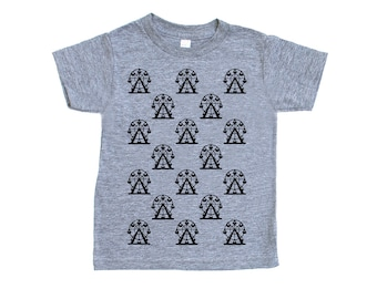 Ferris Wheel Print Triblend TShirt in Heather Grey with Black Print - Infant and Toddler Sizes - Amusement Park Ride Carnival Circus Theme