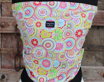 Super Lightweight Baby Sling ORGANIC BAMBOo Baby Wrap-Sling Carrier-Bright Medallions on Black-Our Wraps Are One Size Fits All-DvD Included
