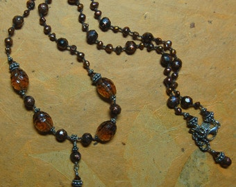 Hand knotted vintage topaz German glass beads, fresh water pearls and Bali sterling silver beaded necklace