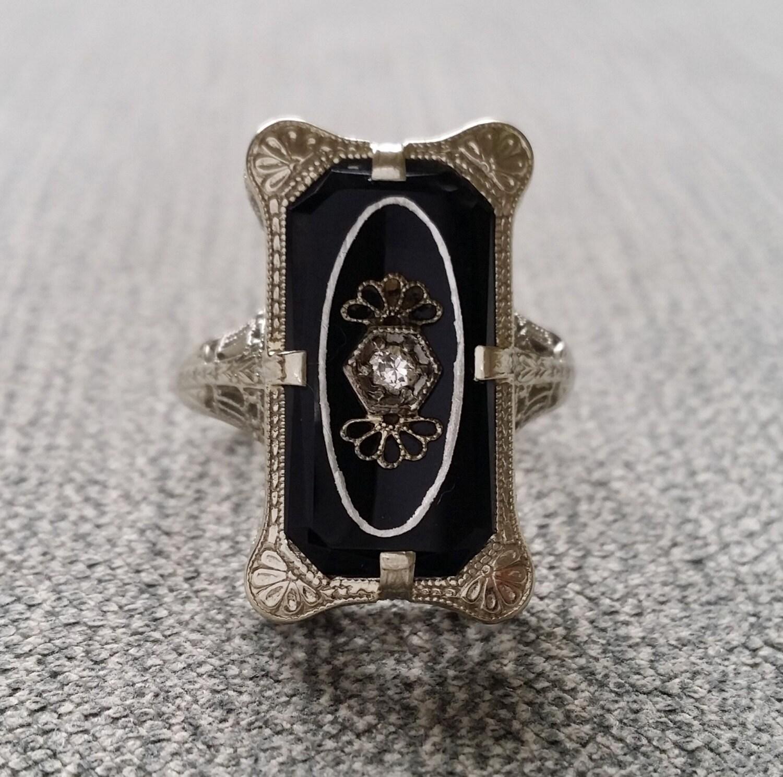 antique black onyx ring filigree deco engraved