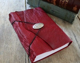 Leather Journal / Sketchbook / Wedding Guestbook . large 9x6 . Handmade Handbound . rich dark red (320pgs)
