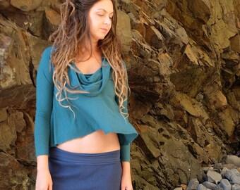 ORGANIC Gypsy Wanderer Cropped Shirt ( organic tissue cotton knit ) - organic dress
