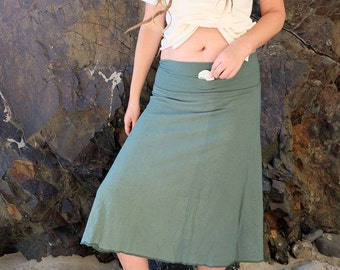 ORGANIC Secret Pocket Wanderer Below Knee Skirt ( light hemp and organic cotton knit ) - organic skirt