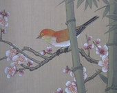 HOLD JACKIE1970s Chinese Watercolor on Silk with Brocade Matte #2 Red Bird with Cherry Blossoms and Bamboo