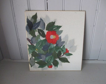1970s Chinese Torn Rice Paper Art of Red Flowers #5
