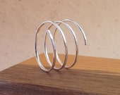 3 Band Ring - Textured Bypass Ring - Coil Ring - Wrap Around Thumb Ring - Sterling Silver Spiral Ring - Three Band Ring