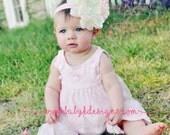 Baby Girls Rustic Ivory Flower Headband / Newborn Bow Headband / Girls Large HANNAH Flower Stretchy Pink Headband | Wedding Baptism Prop