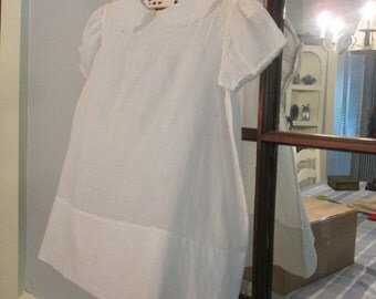 Vintage Baby Clothes - White Batiste Baby Dress - Embroidery and Tiny Tucks