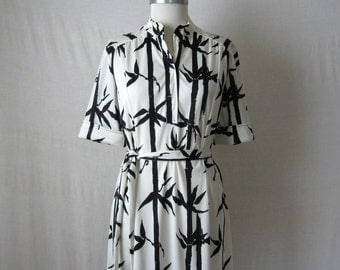 70s Dress Black & White Bamboo Print Vintage Dress 1970s Dress M - L