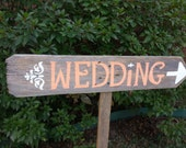 Peach Wedding Sign  READY TO SHIP Signs Outdoor Weddings Hand Painted Reclaimed Wood. Rustic Weddings. Vintage Weddings Road Signs Barn