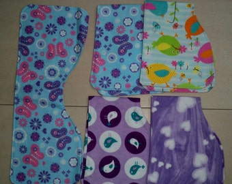 Set of 5 Flannel Contoured Baby Girl Burp Cloths, Butterflies, Birds, Hearts, Purple & Blue