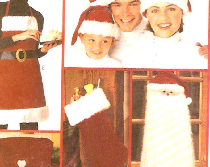 Apron sewing pattern Xmas wall hanging stocking chair cover hat sewing pattern McCalls 3422 crafts Uncut