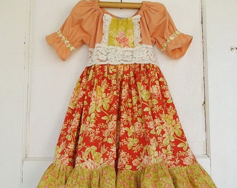 3T GIRLS Fall Peasant Dress Ready to Ship Lace Sash Birthday
