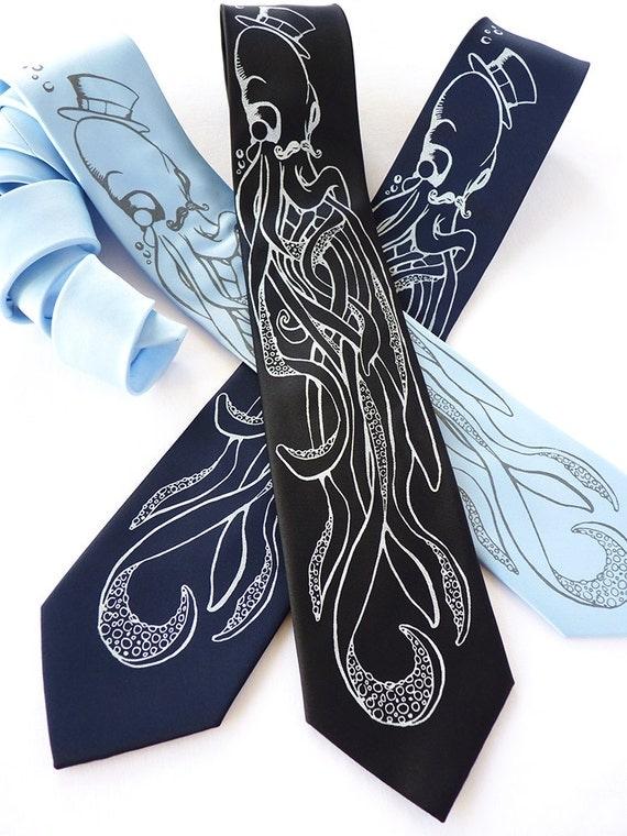 Octopus Necktie, Octopus Tie - Dad Gift, Husband Gift - An Octopus & A Gentleman Neck Tie in Black, Navy or Sky Blue
