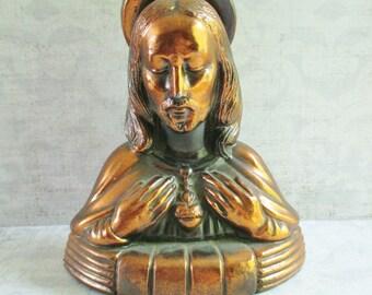 Vintage Copper Toned Metal Jesus Bank