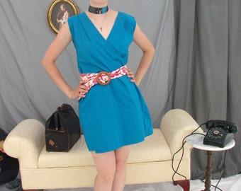 Wrap dress in bright turquoise blue cotton, mid-thigh length, two belts, size small medium