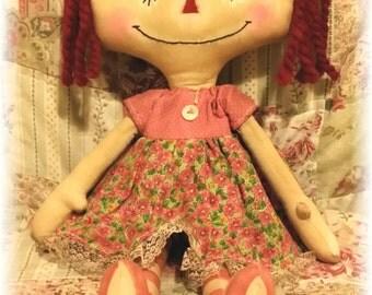 Katie Raggedy Annie Primitive Doll Raggedy Ann Pink Annie Doll Ready To Ship!