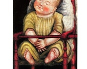 Fine Art Print - Baby in Red High Chair by Unknown American Artist - 1993 Vintage Book Page - Reproduction Print - 8.5 x 11