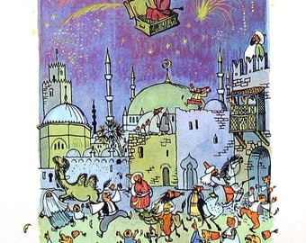 The Flying Trunk - Andersen's Fairy Tales - 1958 Vintage Book Page - Children's Fairy Tales - 9 x 7