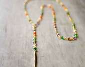 Arista Long Spear Drop Necklace with Mixed Semi-Precious Stones