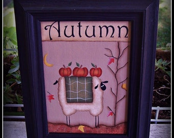 Fall Sheep Autumn Pumpkins 5x7 Framed Canvas Home Decor Picture