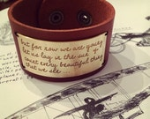 Aeroplane Over The Sea- Etched Brass and Leather Cuff