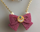 Sailor Moon glitter pink bow laser cut necklace