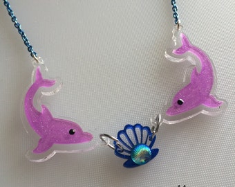 Sale DOLPHIN LOVE laser cut necklace (2 options to choose)