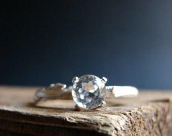 Twig Engagement Ring Alternative Engagement Elf Ring Sparking White Topaz Rustic Weddings