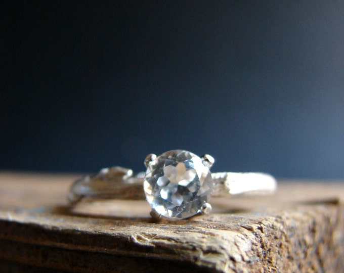 Twig Engagement Ring Alternative Engagement Elf Ring Sparking White Topaz Rustic Weddings