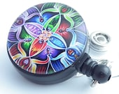 Magnetic ID Badge Holder - Colorful Kaleidoscopic Design Photo Glass on  Black Badge Reel
