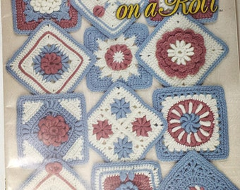 Crochet patterns, 24 Blocks on a Roll, Afghan squares, signed by Bonnie Pierce