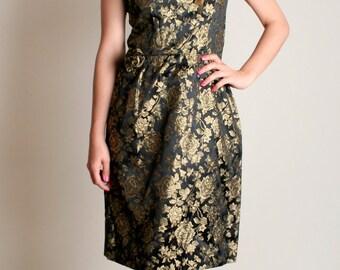 Vintage 1960s Wiggle Dress - Black and Gold Rose Floral Cocktail Dress - Medium