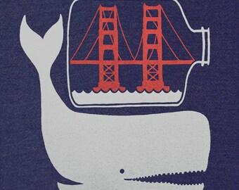 SF in a Bottle - Unisex V-Neck Nautical Tee Shirt Anchor Sailing Boat Ship in a Bottle San Francisco Golden Gate Bridge Tshirt
