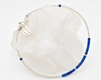 SALE, Blue Natural Lapis Bracelet, Blue Beaded Bracelets, Delicate Blue and Silver Jewelry