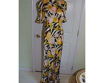 1930's Floral Silk Satin Bias Cut Hollywood Evening Gown