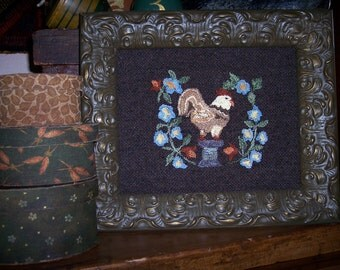 Punch Needle Pattern - Rooster Among the Morning Glories - Two Options