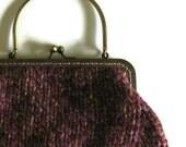 Tweed Purple Wool Kiss Lock Purse, Metal Frame, Knitted Clutch, Cute Small Handbag, Top Handle, Handmade, Marl Wool Knit City Bag, Women