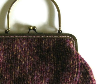 Tweed Purple Wool Kiss Lock Purse, Metal Frame, Knitted Clutch, Cute Small Handbag, Top Handle, Handmade, Marl Wool Knit City Bag, Women