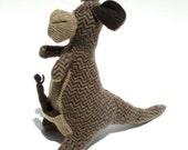 Herringbone Wool Kangaroo with Joey