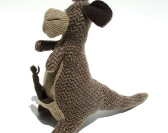 Herringbone Wool Kangaroo with Joey