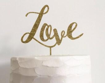 Gold Glitter Love Acrylic Wedding Cake Topper - Wedding, Bridal Shower