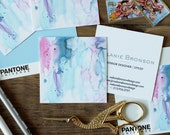 Calling Cards / Business Cards Pastel Watercolor - Set (50) / Blue Pink Lilac