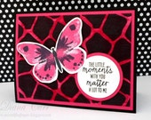 Hand Stamped Butterfly Card, Pink and Black Card, Friendship Cards, Thinking of You Cards, Inspirational Cards