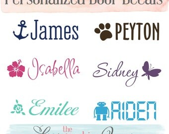 Name Door or Wall Decal • Vinyl Wall Decal Nursery Girl Boy Bedroom Decor • Choice of Butterfly Arrow Robot Paw Print Rose Anchor or Flower
