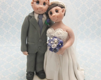 Wedding Cake Topper, Custom Cake Topper, Personalized, Polymer Clay Bride and Groom, Wedding/Anniversary Keepsake