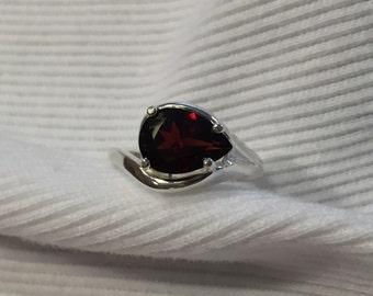 Pear Shape Garnet Sterling Silver Ring