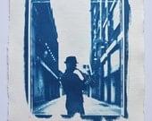 Sundown streets, limited edition cyanotype print A3