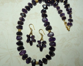 Sale DEEP PURPLE AMETHYST And Gold Flower Necklace Large Polished Natural Amethyst Crystal Bead Necklace And Earring Set